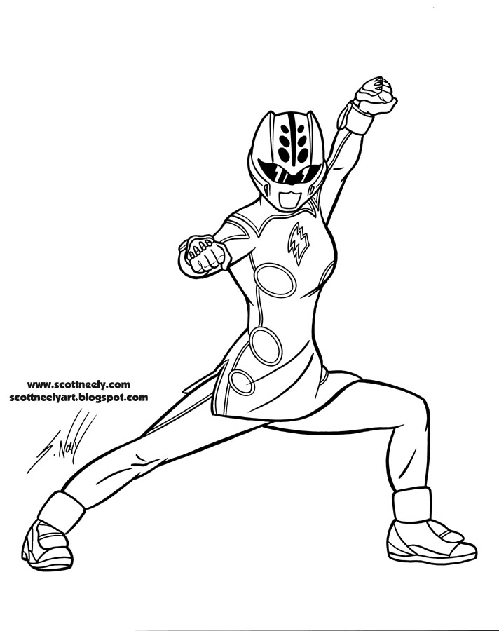 prjf_022_yellow ranger_pose 2 blue power rangers coloring pages